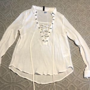 White criss cross blouse